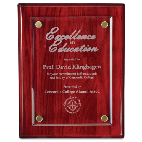 Rosewood Floating Glass Wood Award Plaque