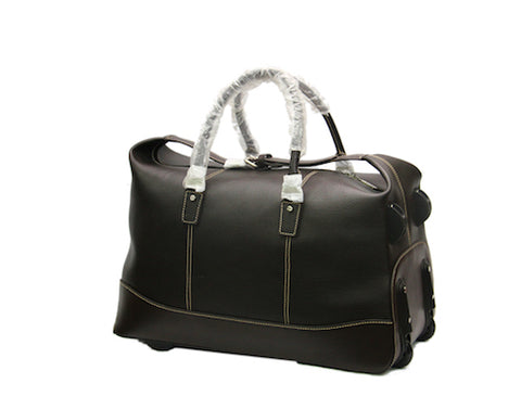 Condotti 2 Wheel Leather Holdall Trolley Roller Case