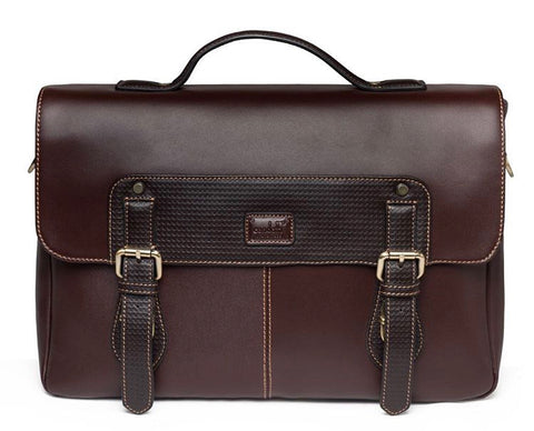 Condotti Leather Flapover Briefcase