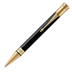 Parker Duofold Classic Black Retractable Ballpoint Pen With Gold Trim