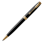Parker Sonnet Lacquer Black Gold Trim Ball Pen