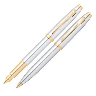 Sheaffer 100 Chrome Gold Trim Ballpoint and Fountain Pen Set