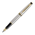 Waterman Expert Stainless Steel Gold Trim Fountain Pen