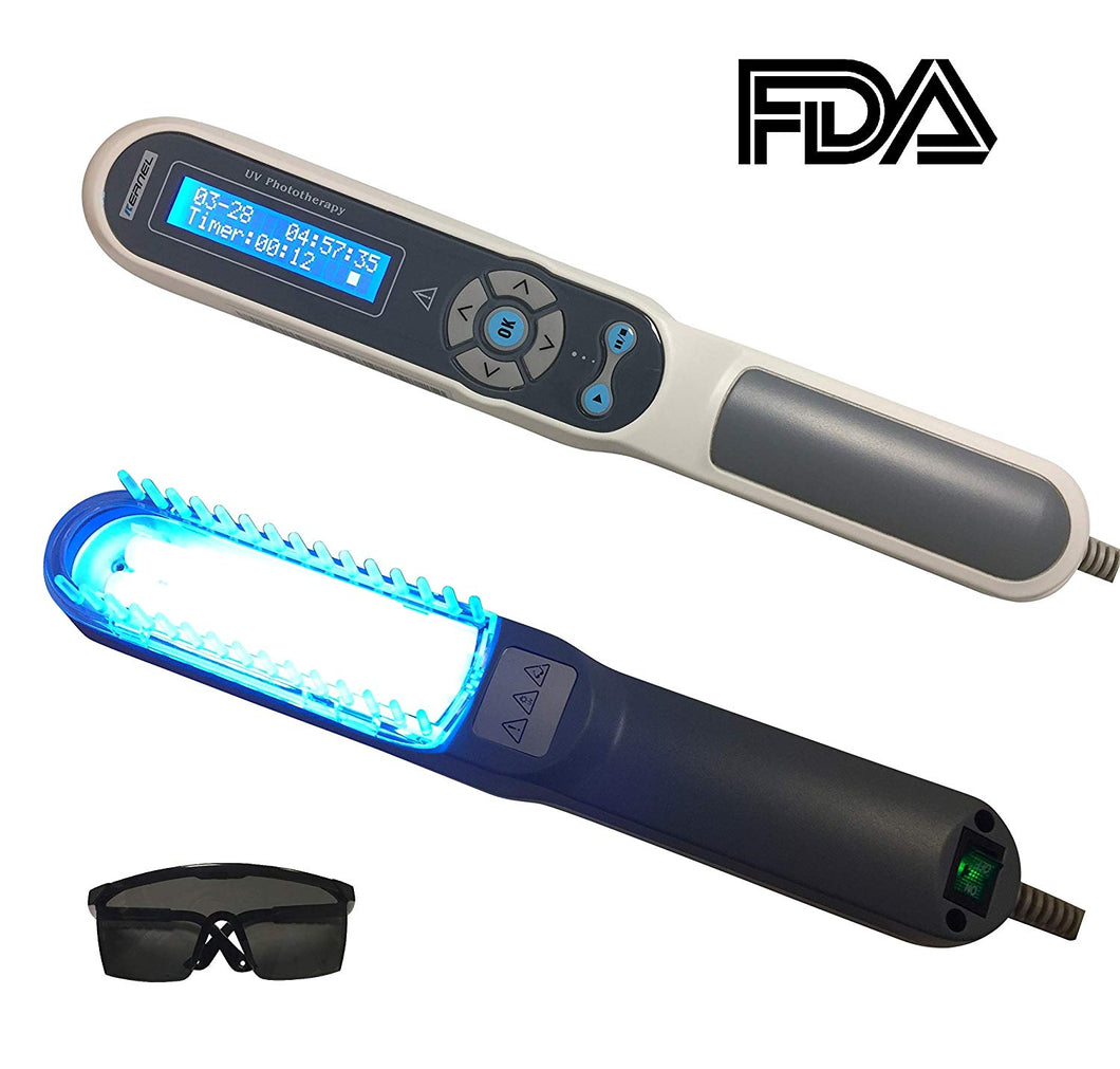 FDA Approved Hand Held UV Phototherapy Light Therapy for Skin Disorders, Body & Scalp Treatment, 100% Safe & Effective, Home Use, with Comb Attachment & Safety Glasses