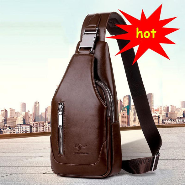 Men's Casual Bag -PU Leather Crossbody Messenger Bag With USB Interface