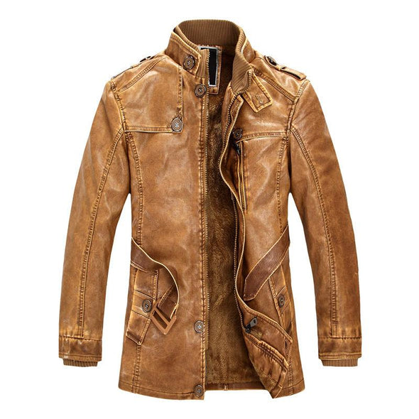 Trench Winter PU Jacket Leather motorcycle Thicken coat