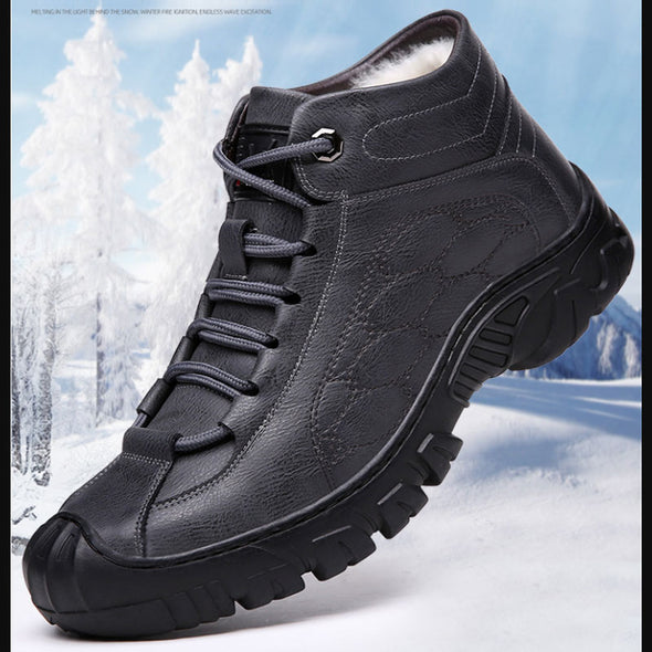 Winter Wool Lining Casual Leather Sneakers High Top Boots Chunky Shoes