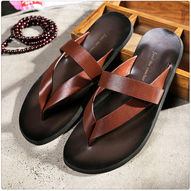 Men's Slippers Leisure Concise Genuine Leather Summer Flip Flops