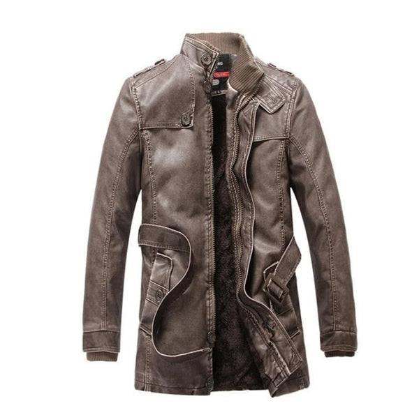 Long Warm Fleece Leather Jacket Coat England Vintage Parkas