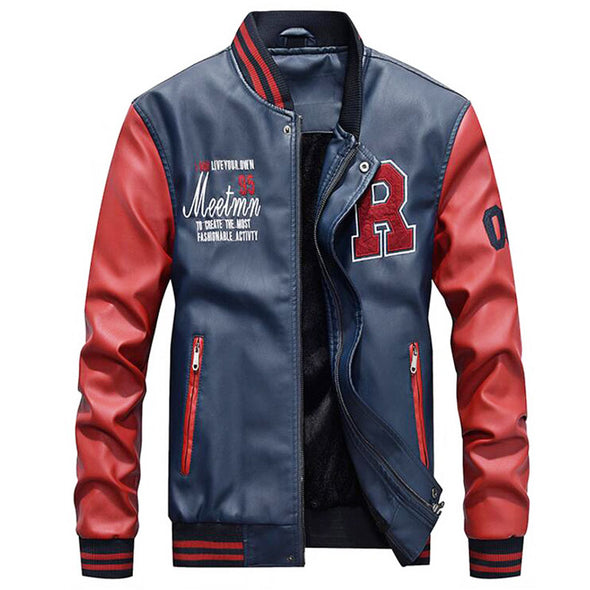 Men Pu Faux Leather Baseball Jackets
