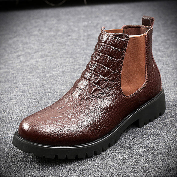 Men Crocodile Print Leather Casual Chelsea Ankle Boots