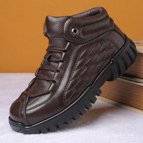 Leather Men Hiking Shoes Snow Boots Outdoor Climbing Trekking Sneakers