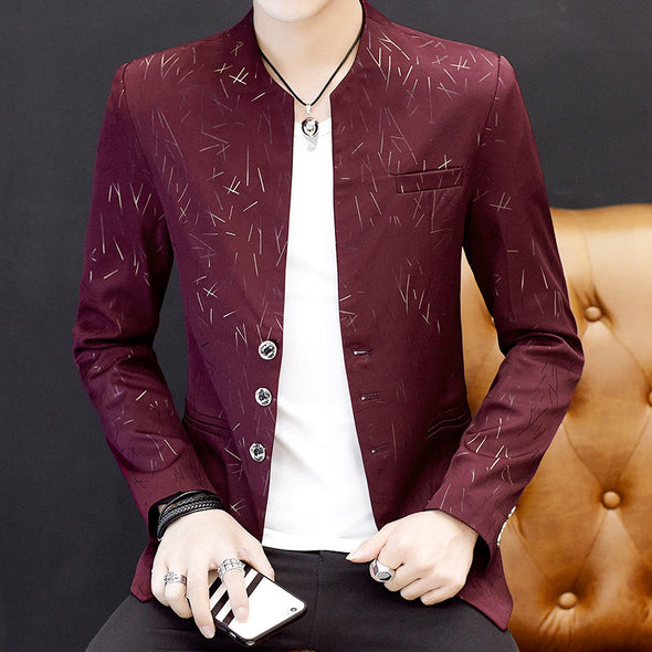 Men's Handsome Trend Stand Collar Casual Slim Jacket