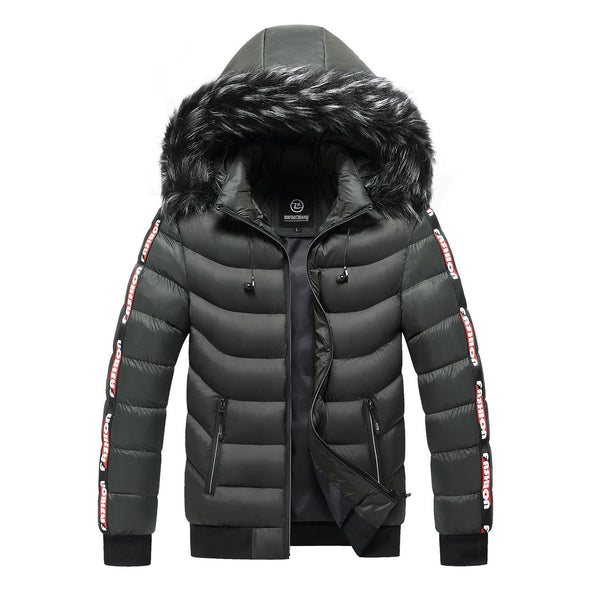 Winter Jacket Men Fur Collar Hooded Warm Cotton Outwear
