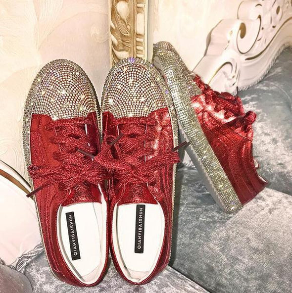 women fashion casual shoes expensive diamond shoes lace-up Flat shoes