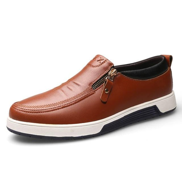 Men Comfortable Leather Casual Zip Office Loafers