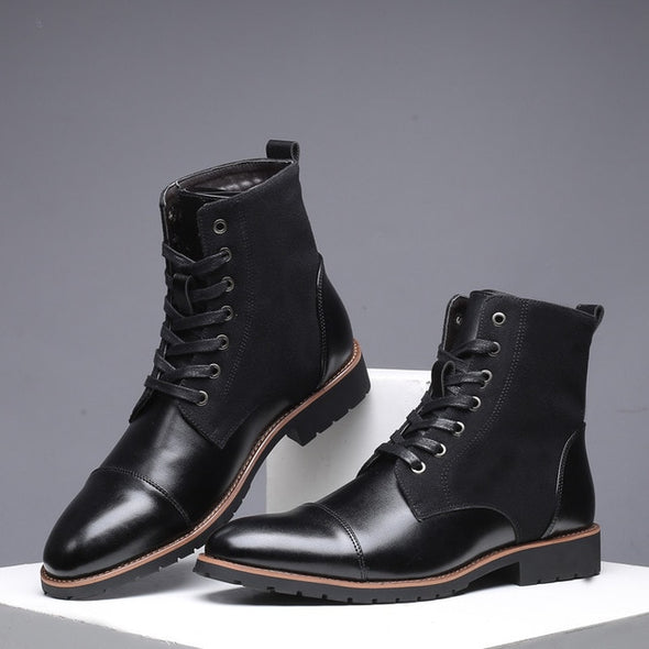 Winter Men Snow Boots Pointed Toe Winter Casual Leather Shoes