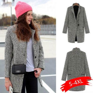 Women Autumn Winter Casual Long Sleeve Houndstooth Button Coat