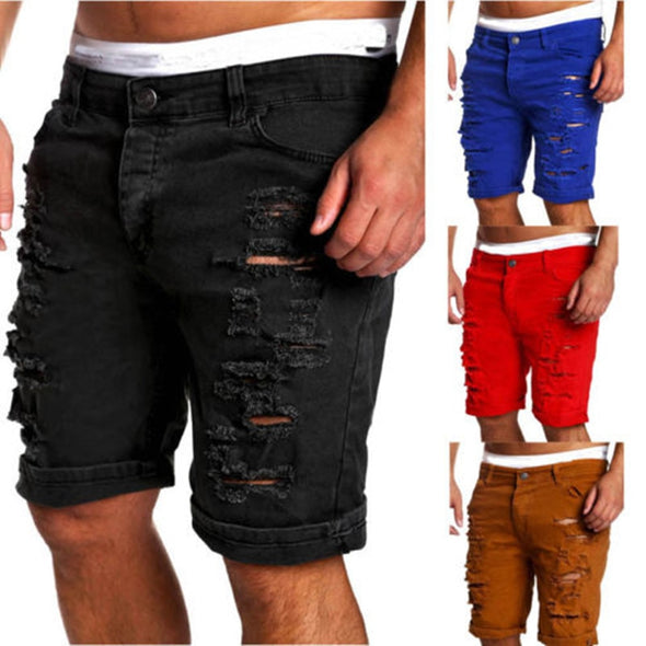 New Fashion Men Skinny Runway Straight Denim Ripped Jeans Shorts