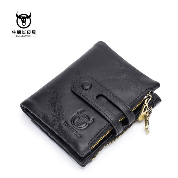 Genuine Leather Holders Double Zipper Credit Business Card Wallet