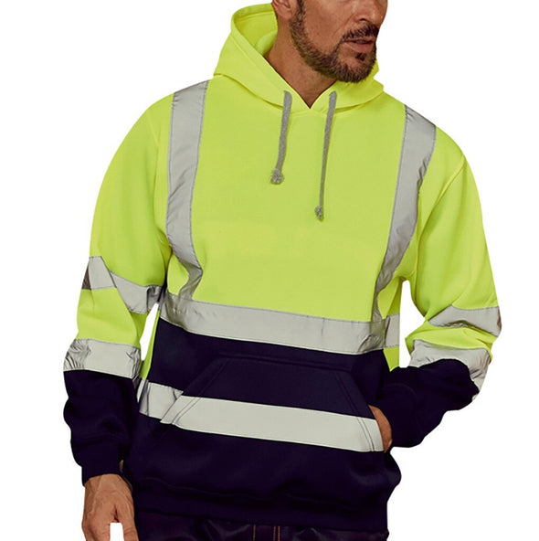 Oversized Reflective Hoodies Men Streetwear Road Work Visibility Long Sleeve