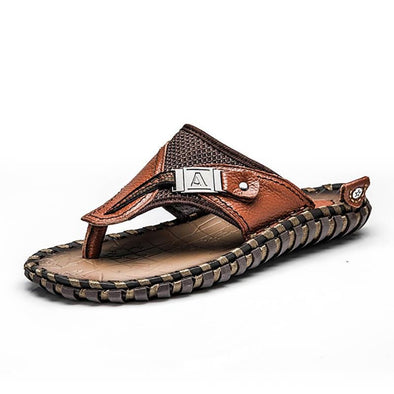 Genuine Leather Luxury Brand Men Summer Outdoor Beach Casual Sandals
