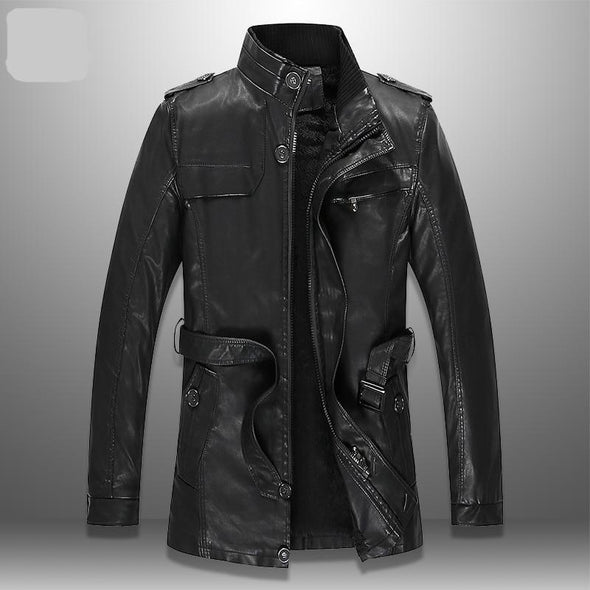 Trench-Coat Winter Mid-long PU Leather Jacket