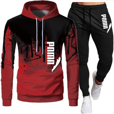 men 2-piece  pullover hoodie pants suit