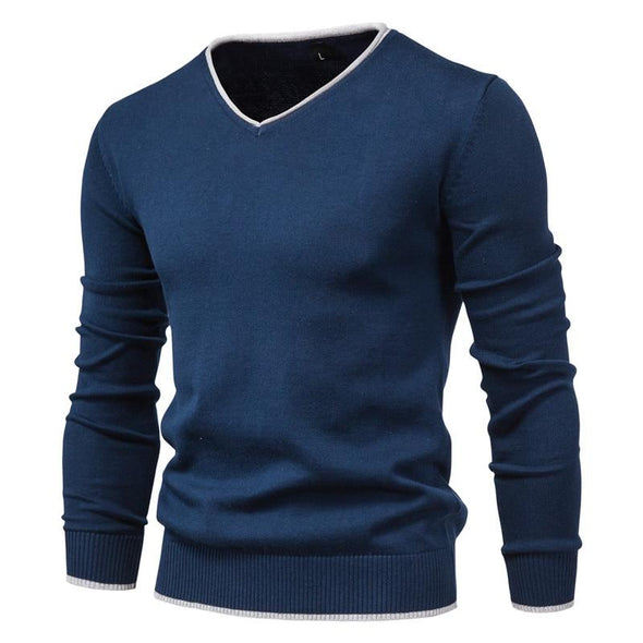 Cotton Pullover V-neck Sweater Solid Color