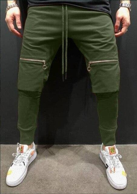 Zipper Spilcing Pocket Men Joggers Pants