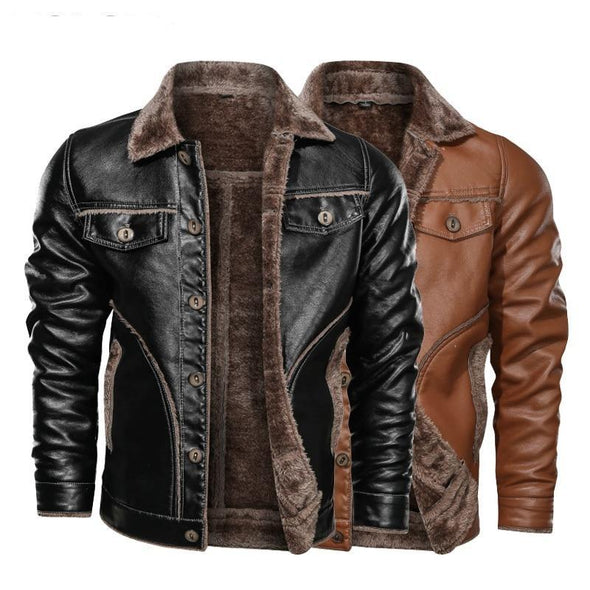 Leather Jacket Plus Velvet PU Leather Coat Motorcycle 8XL