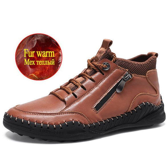 Winter Men's Plush Warm Leather Men's Snow Boots