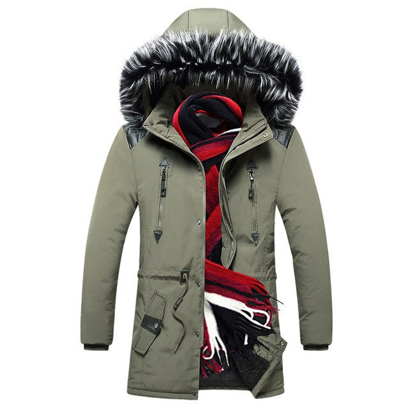Thick Warm Winter Jacket Men Fleece Lined Hooded Long Parka
