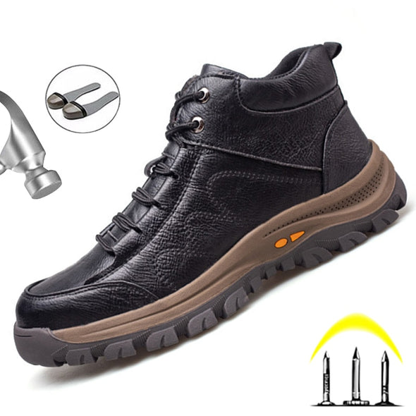 Leather Men Winter  Steel Toe Safety Work Boots