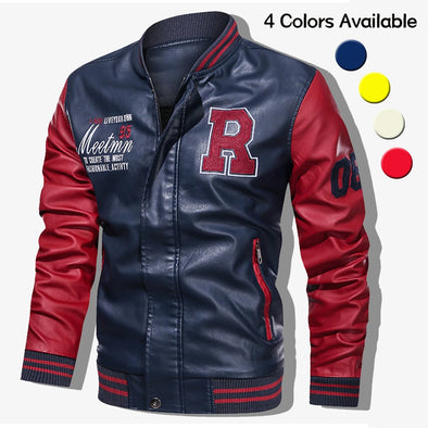Men Embroidery Baseball Jacket Leather Bomber Jacket