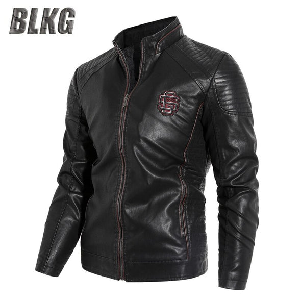 PU Motorcycle Leather Stand Collar Solid Military Jacket