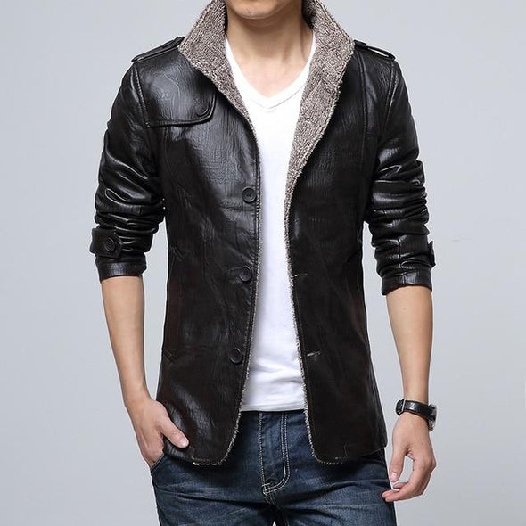 8XL Leather Jacket Fleece Motorcycle Leather jacket PU