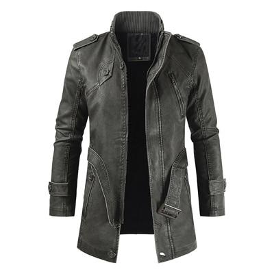 Cashmere Leather Jacket Solid Color