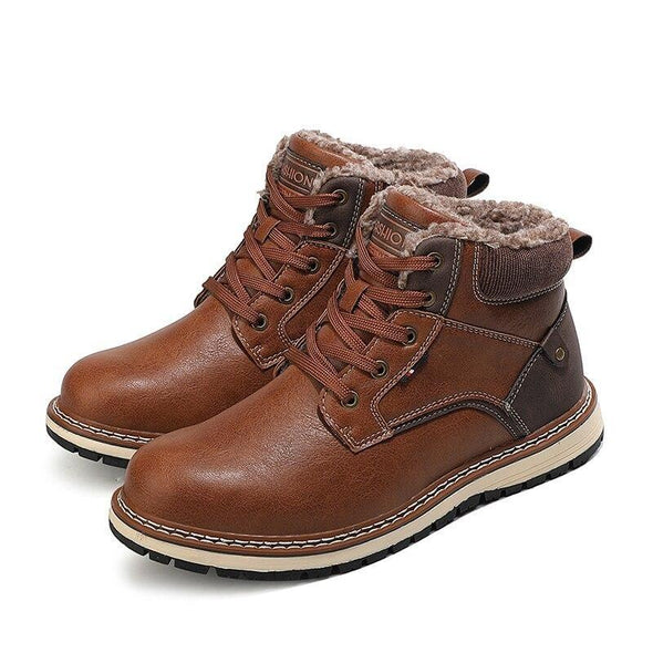 Working Shoes Leather Boots Warm Ankle Snow Waterproof