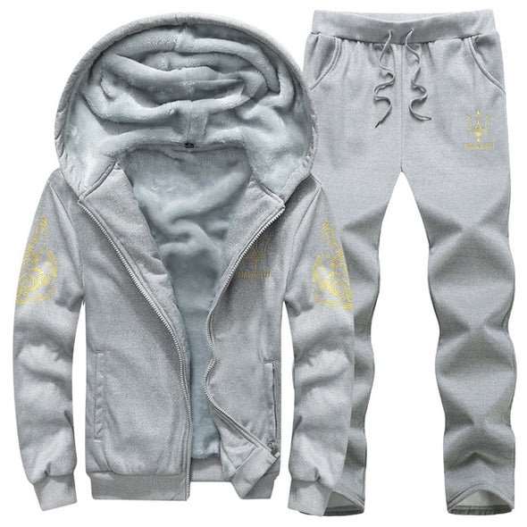 Fleece Sets Thick Hoodies+Pants Suit Sportswear Tracksuits