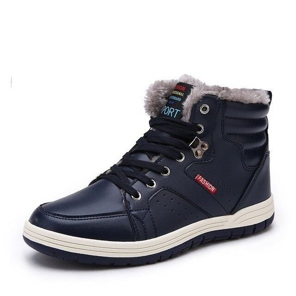 Men Water-Resistant Shoes Plus Velvet Warm Snow Boots Outdoor Casual Leather
