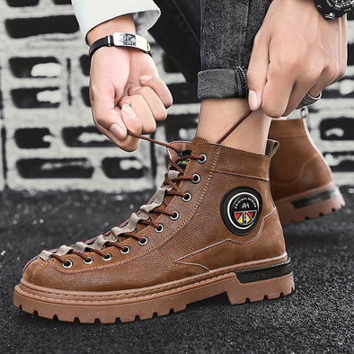 Men Leather Casual Boots Working Shoes Cowboy Boots
