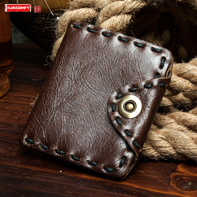 Vintage Cowhide Leather Purses Men Wallet