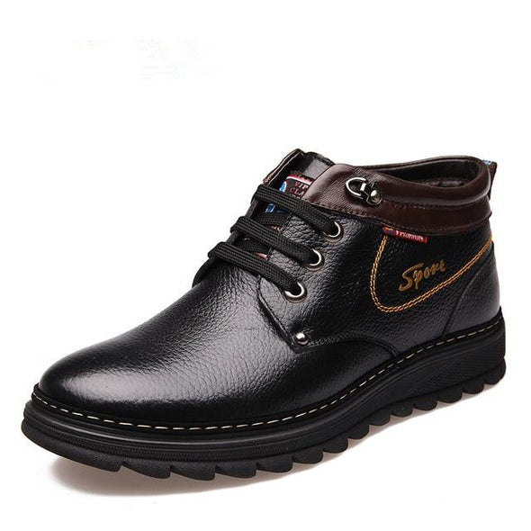 Brand Winter Men Genuine Leather Warm Working Plush Ankle Boots