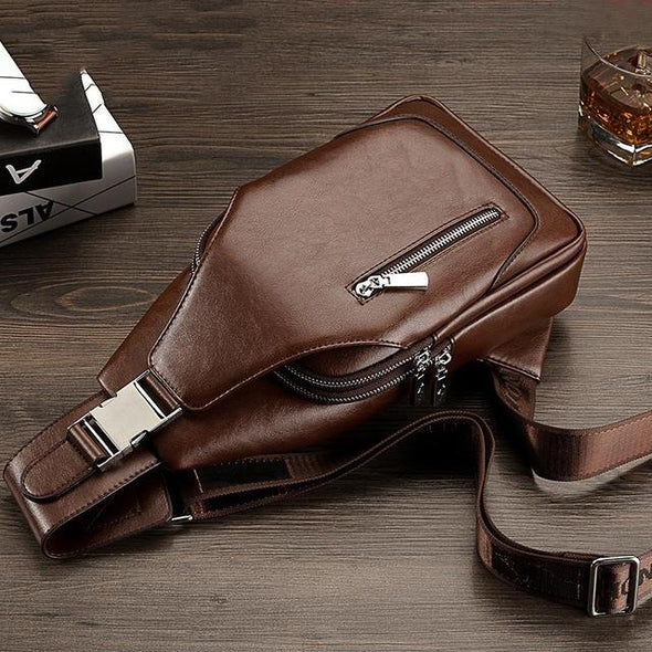 Fashion PU Leather Small Chest Bag for Men
