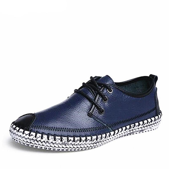 Large Size Handmade Non-slip Genuine Leather Lace-Up Men's Casual Shoes