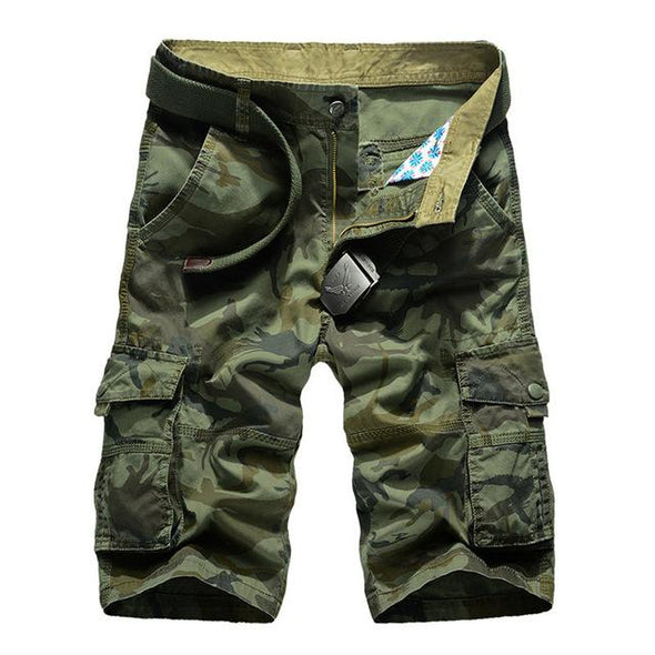 New Summer Loose Camouflage Cargo Shorts for Men (No Belt)