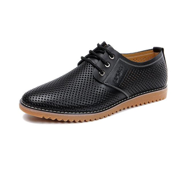 Fashion Big Size Genuine Leather Lace-Up Hollow-out Men's Casual Shoes
