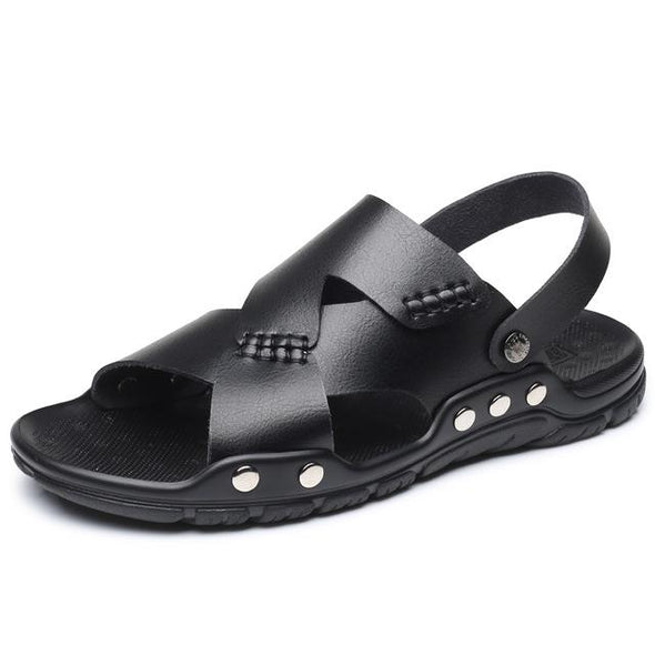 Fashion Large Size Genuine Leather Men's Sandals