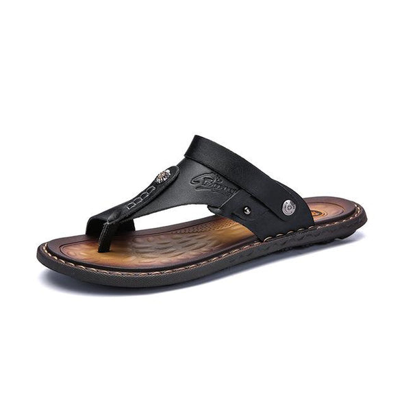 Brand Men Big Size Breathable Leather Beach Sandals